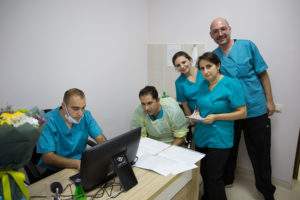 CCSC Gastroenterologist Dr. Edgar Mehdikhani (2nd from left) works closely with Stepanakert based GIs Dr. Inna Asryan and Dr. Anush Arustamyan. Photographed here are technician Vardan Lalayan and assistant Adrian.
